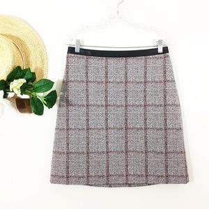 Ann Taylor Faux Leather Trim Gray Red Plaid Skirt